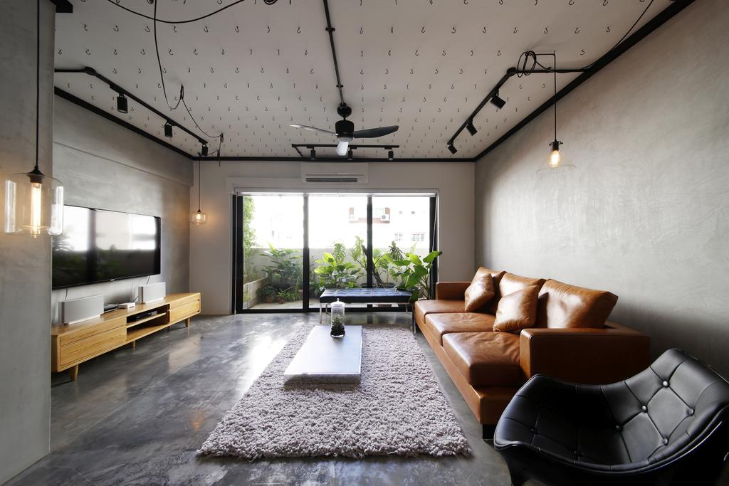 Industrial, HDB, Living Room, Serangoon, Interior Designer, Free Space Intent, Full Length Window, Track Light, Hanging Ligh, Trackie, Leather Sofa, Leather Seat, Exposed Bulbs, Maisonette, Couch, Furniture, Chair, Electronics, Entertainment Center, Home Theater, Indoors, Room