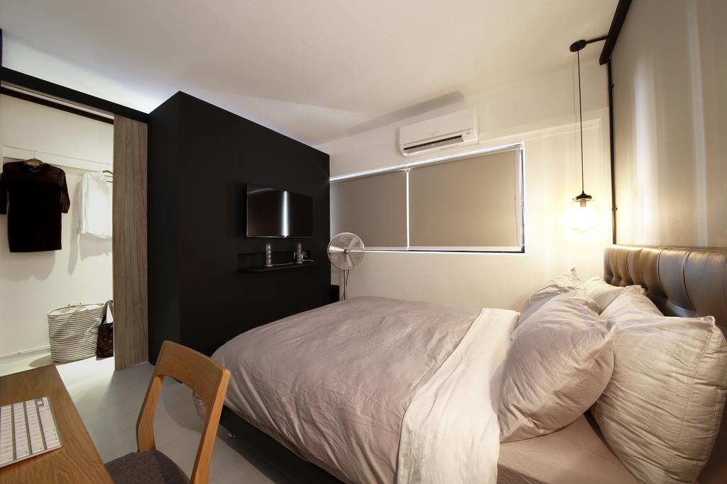 Industrial, HDB, Bedroom, Serangoon, Interior Designer, Free Space Intent, Wooden Table, Headboard, Hanging Light, Blinds, Bed, Furniture, Chair, Indoors, Interior Design, Room