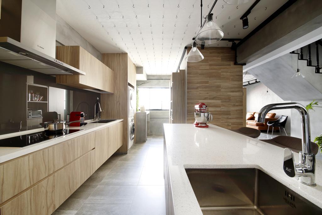 Industrial, HDB, Kitchen, Serangoon, Interior Designer, Free Space Intent, Wooden Laminate, Hanging Light, Counter, Indoors, Interior Design, Sink