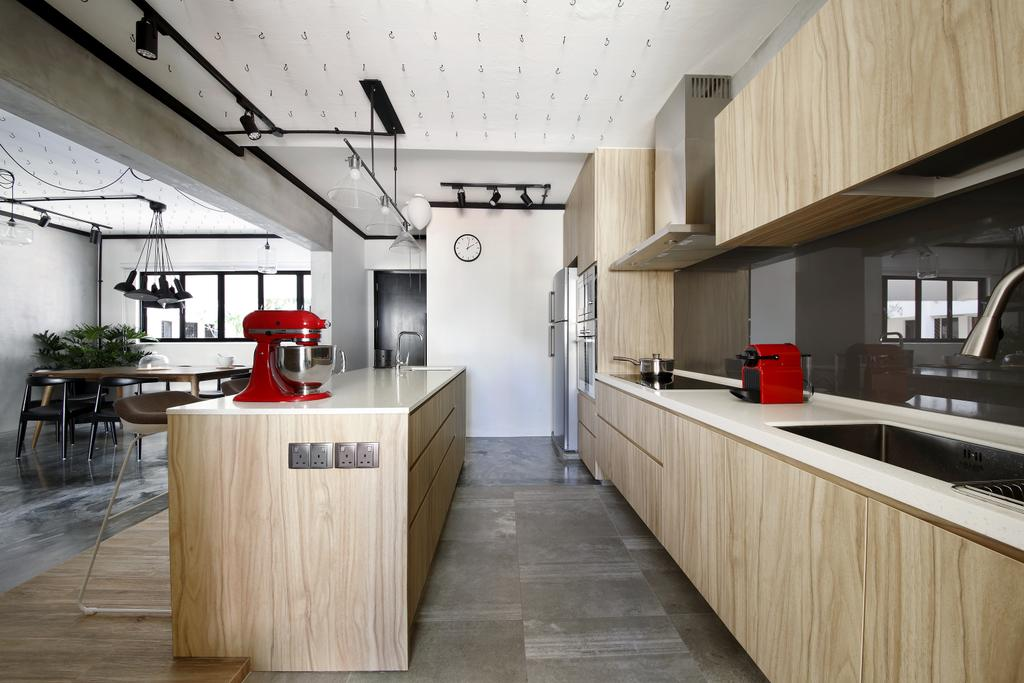 Industrial, HDB, Kitchen, Serangoon, Interior Designer, Free Space Intent, Kitchen Mixer, Wooden Laminate, Table Top, Counter, Black Trackie, Track Lighting, Indoors, Interior Design, Room, Dining Table, Furniture, Table
