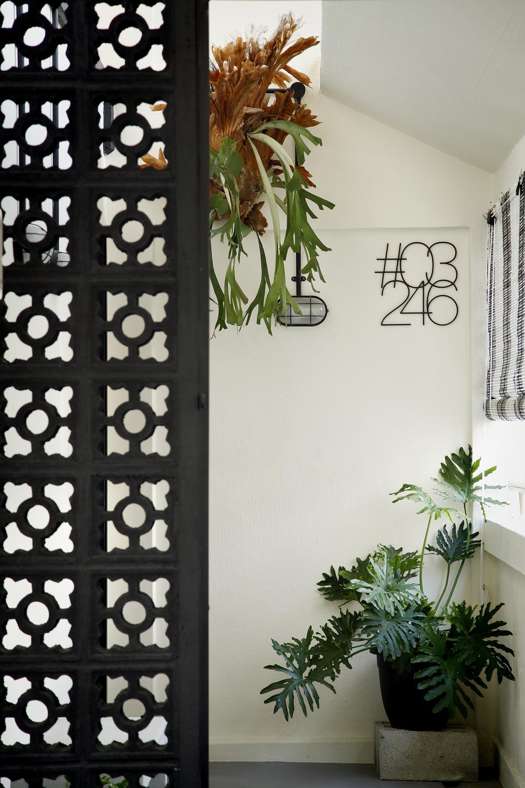 Industrial, HDB, Garden, Serangoon, Interior Designer, Free Space Intent, Gate, Blinds, Potted Plants, Flora, Jar, Plant, Potted Plant, Pottery, Vase