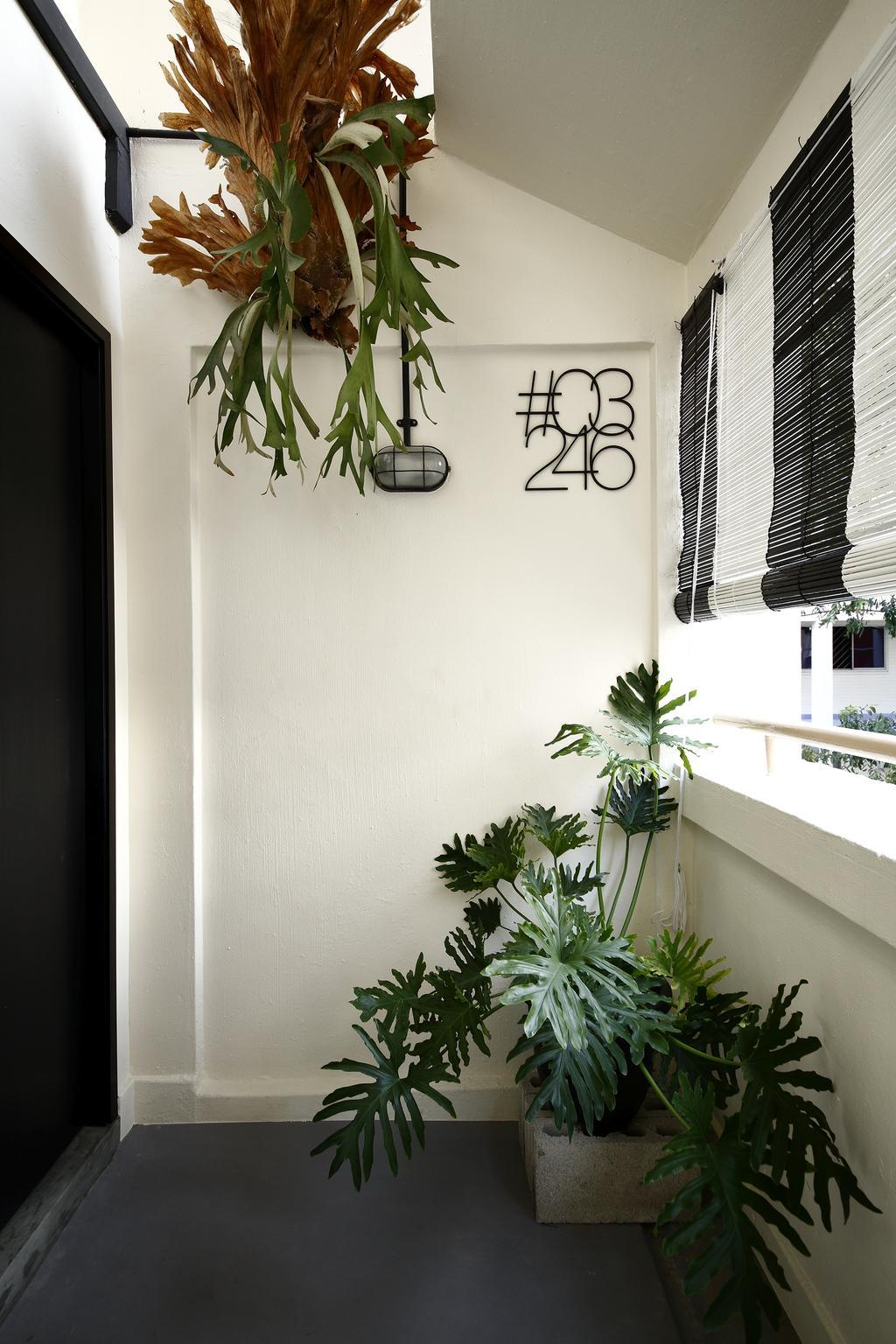 Industrial, HDB, Garden, Serangoon, Interior Designer, Free Space Intent, Blinds, Exterior, Flora, Jar, Plant, Potted Plant, Pottery, Vase