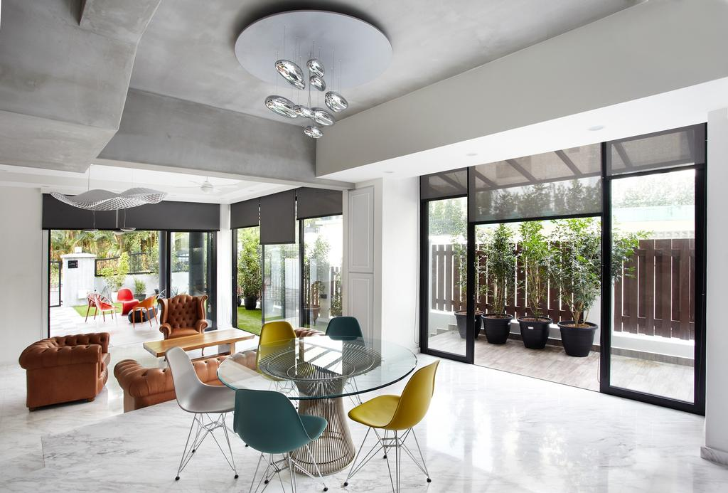 Eclectic, Landed, Dining Room, Eng Kong Terrace, Interior Designer, Free Space Intent, Chandelier, Hanging Light, Glass Table, Colourful Chairs, Marble Floor, Full Length Windows, Chair, Furniture, Terrace, Indoors, Interior Design, Room