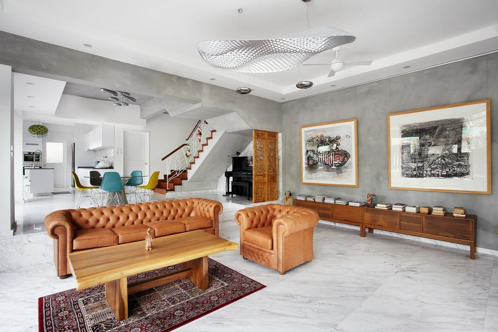 Eclectic, Landed, Living Room, Eng Kong Terrace, Interior Designer, Free Space Intent, Wall Art, Paintings, Leather Sofa, Marble Floor, Carpet, Couch, Furniture