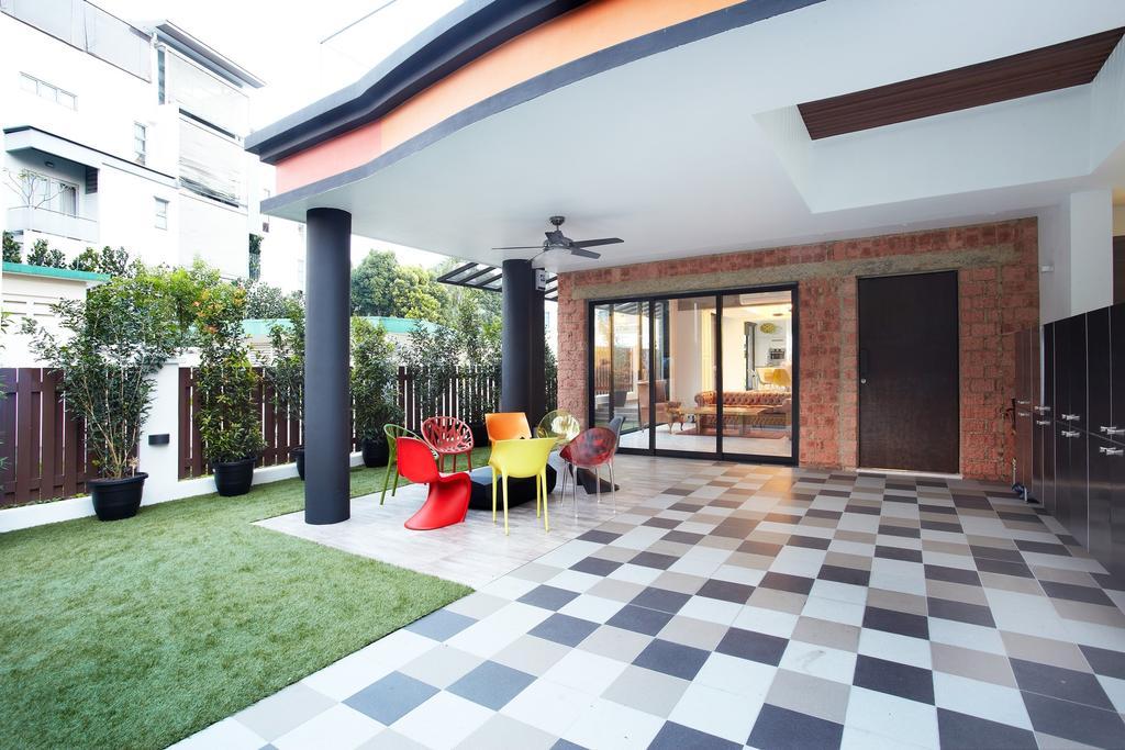 Eclectic, Landed, Garden, Eng Kong Terrace, Interior Designer, Free Space Intent, Checkered Tiles, Outdoor, Building, House, Housing, Villa, Brick