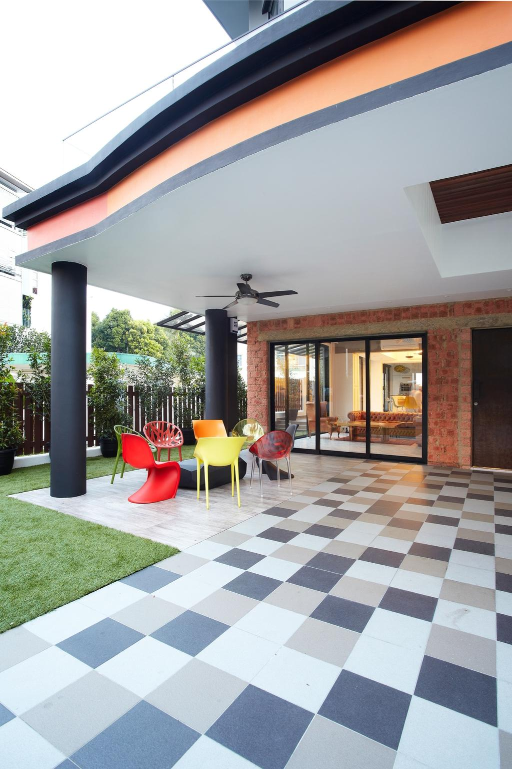 Eclectic, Landed, Garden, Eng Kong Terrace, Interior Designer, Free Space Intent, Checkered Tiles, Outdoor, Playground, Building, House, Housing, Villa, Glass, Chair, Furniture