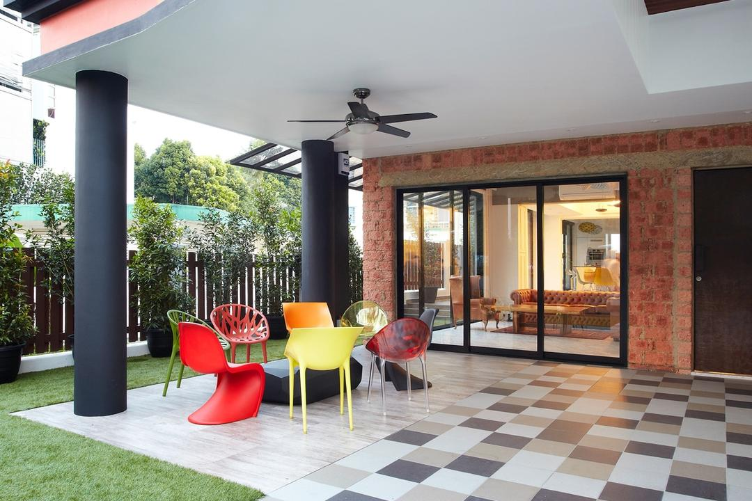 Eng Kong Terrace, Free Space Intent, Eclectic, Garden, Landed, Checkered Tiles, Outdoor, Playground, Building, House, Housing, Villa, Glass, Chair, Furniture