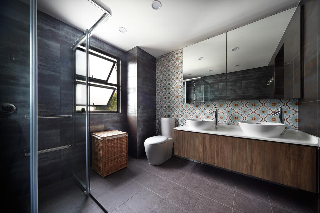 Eclectic, Landed, Bathroom, Eng Kong Terrace, Interior Designer, Free Space Intent, Mosaic Tiles, Wooden Laminate, Bathroom Tiles, Indoors, Interior Design, Room