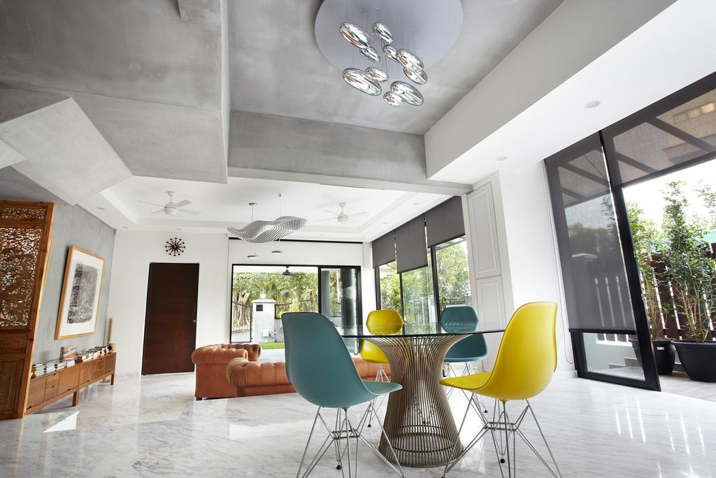 Eclectic, Landed, Dining Room, Eng Kong Terrace, Interior Designer, Free Space Intent, Hanging Light, Chandelier, Glass Table, Full Length Window, Chair, Furniture, Indoors, Interior Design, Room, Hardwood, Stained Wood, Wood, Balcony
