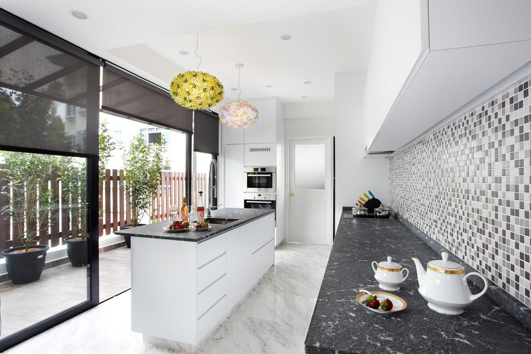 Eng Kong Terrace, Free Space Intent, Eclectic, Kitchen, Landed, Mosaic Tiles, Island, Granite, Granite Counter, Full Length Window, Flora, Jar, Plant, Potted Plant, Pottery, Vase, Bathroom, Indoors, Interior Design, Room