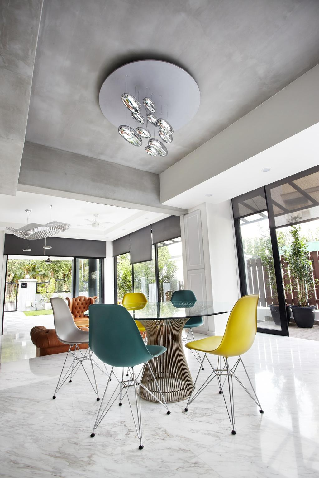 Eclectic, Landed, Dining Room, Eng Kong Terrace, Interior Designer, Free Space Intent, Hanging Light, Chandelie, Glass Table, Marble Floor, Chair, Furniture, Indoors, Interior Design, Room, Bonsai, Flora, Jar, Plant, Potted Plant, Pottery, Tree, Vase