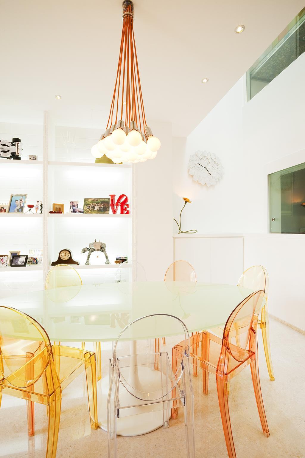Retro, Landed, Dining Room, Lichi Avenue, Interior Designer, Free Space Intent, Hanging Light, Display Shelf, Dining Table, Door, Sliding Door, Indoors, Interior Design, Room