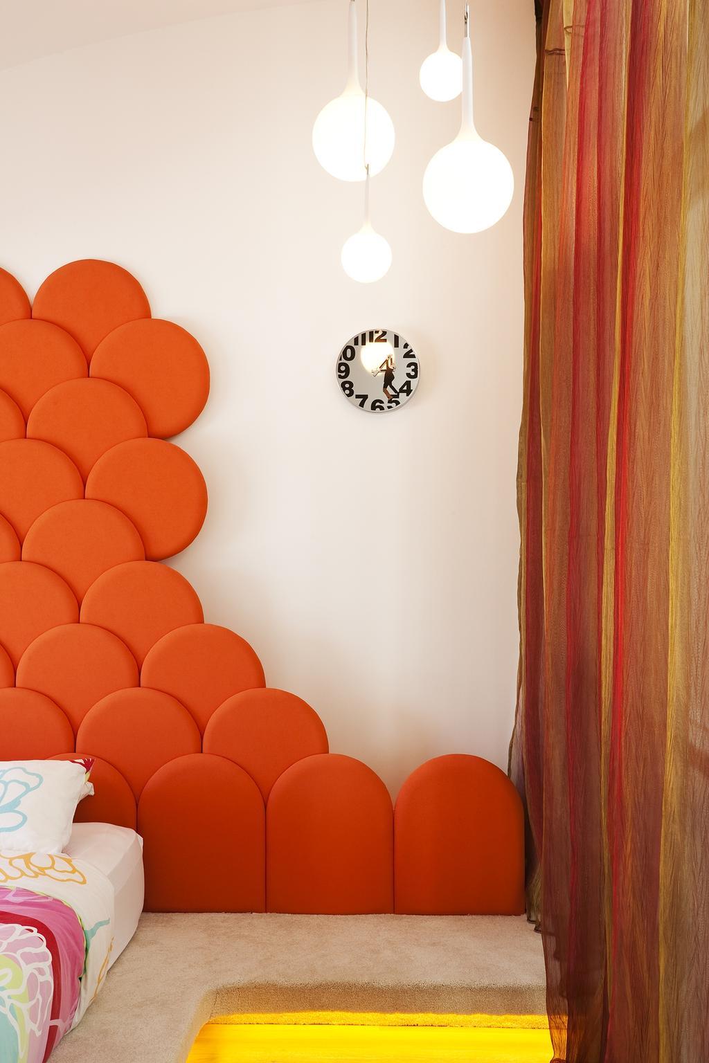 Retro, Landed, Bedroom, Lichi Avenue, Interior Designer, Free Space Intent, Hanging Light, Headboard, Concealed Light, Concealed Lighting, Clock, Wall Clock, Chair, Furniture