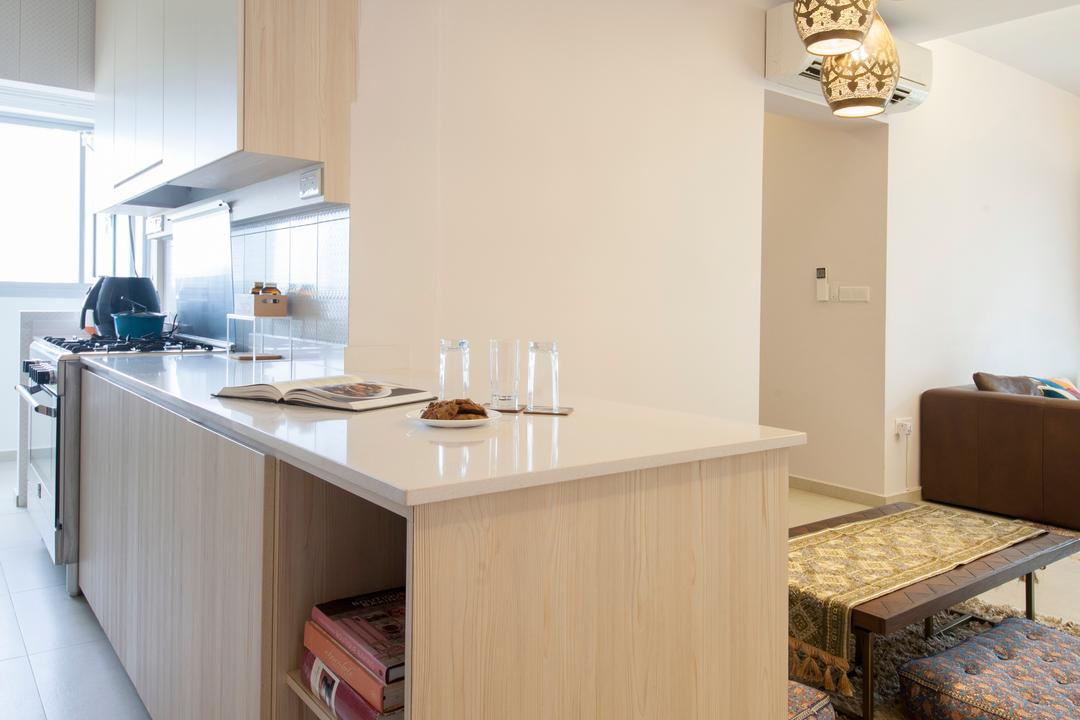 Fajar Road (Block 443A), Fatema Design Studio, Traditional, Kitchen, HDB, Island, Hack, Open Concept, Half Hack, Kitchen Counter, Neutral Colours, Chair, Furniture, Indoors, Interior Design, Room