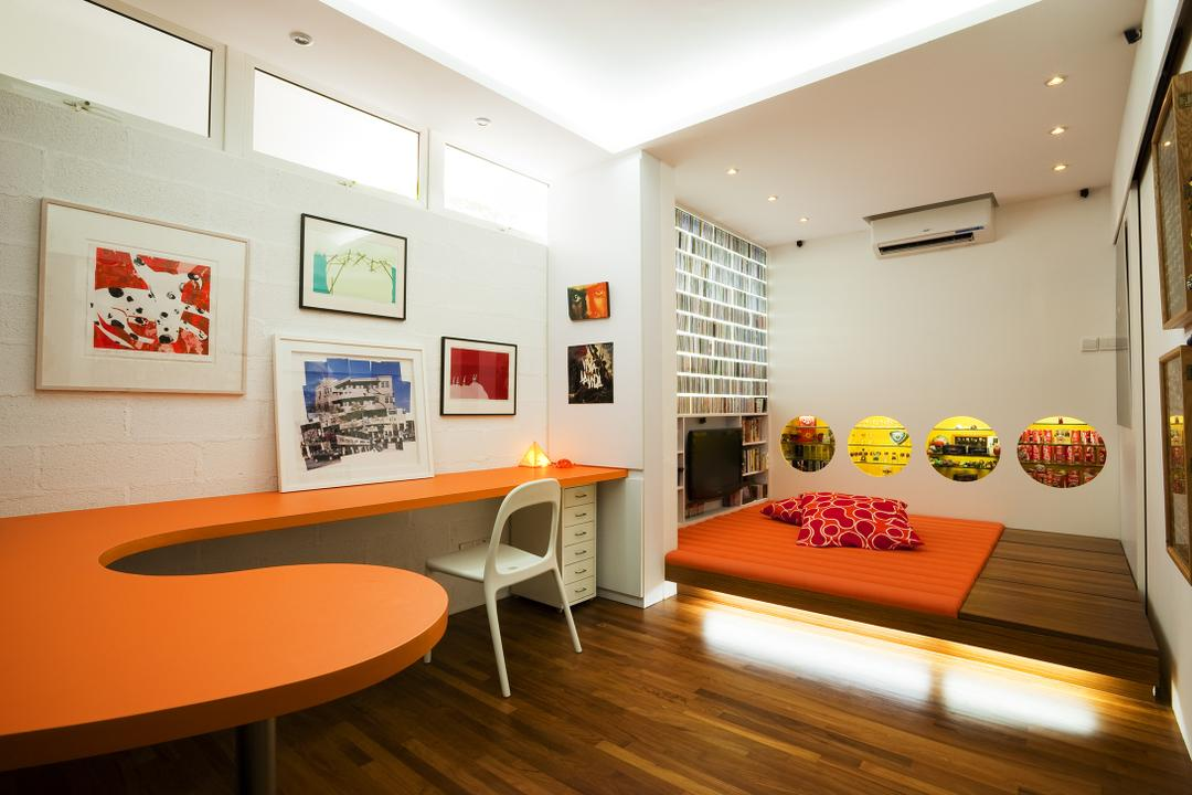 Lichi Avenue, Free Space Intent, Retro, Study, Landed, Orange Table, Study Table, Display Shelf, Wall Art, Paintings, Concealed Lighting, Concealed Ligth, Cove Lighting, White Board