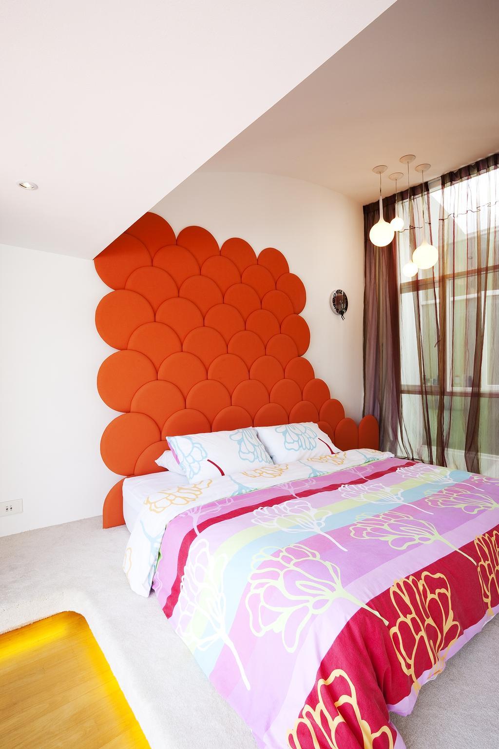 Retro, Landed, Bedroom, Lichi Avenue, Interior Designer, Free Space Intent, Headboard, Concealed Light, Hanging Light, Curtain