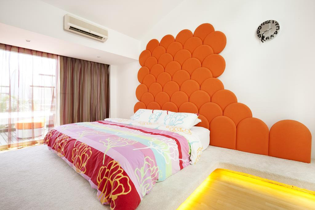 Retro, Landed, Bedroom, Lichi Avenue, Interior Designer, Free Space Intent, Headboard, Curtains, Conealed Lighting, Concealed Light, Bed, Furniture, Chair