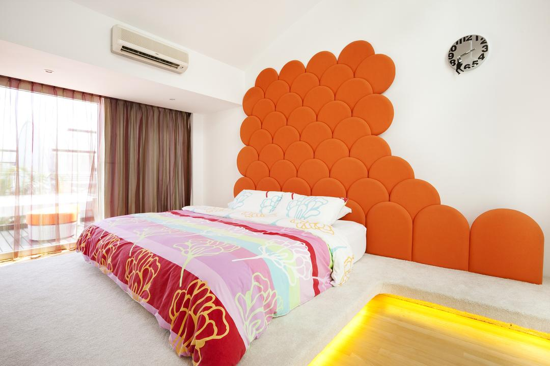 Lichi Avenue, Free Space Intent, Retro, Bedroom, Landed, Headboard, Curtains, Conealed Lighting, Concealed Light, Bed, Furniture, Chair