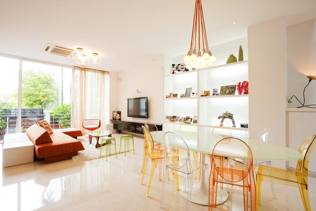 Lichi Avenue, Free Space Intent, Retro, Dining Room, Landed, Hanging Light, Marble Floor, Transparent Chairs, Curtains, Full Length Windows, Indoors, Interior Design, Room, Dining Table, Furniture, Table