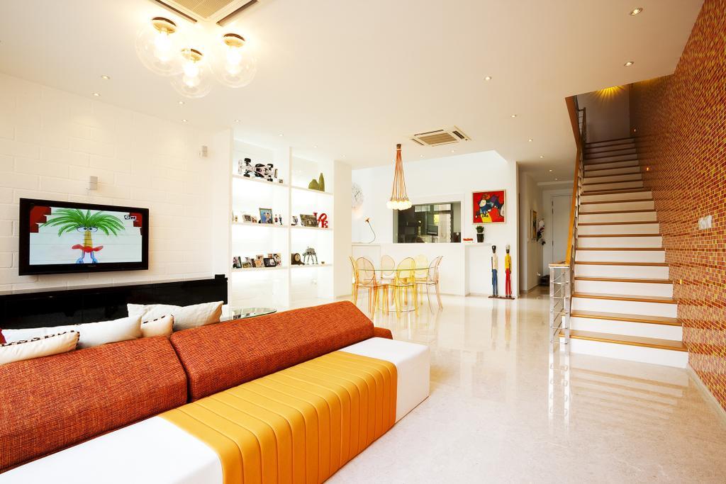Retro, Landed, Living Room, Lichi Avenue, Interior Designer, Free Space Intent, Wallpaper, Marble Floor, Hanging Light, White Interior, Banister, Handrail, Staircase, Bedroom, Indoors, Interior Design, Room