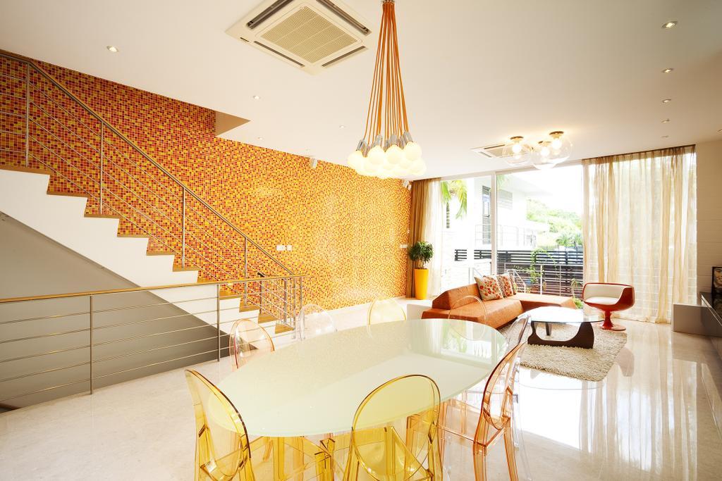 Retro, Landed, Dining Room, Lichi Avenue, Interior Designer, Free Space Intent, Wallpaper, Transparent Chairs, Hanging Light, Marble Floor, Indoors, Interior Design, Room