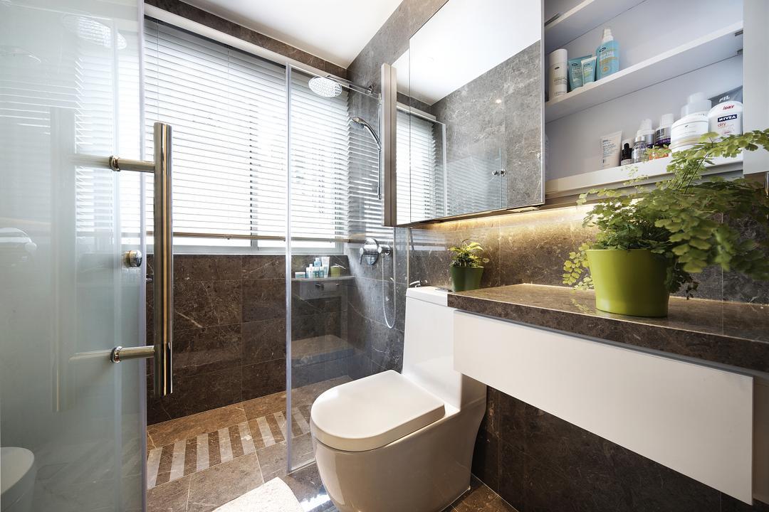 East Coast, Free Space Intent, Eclectic, Bathroom, Condo, Bathroom Tiles, Mirror, Sink, Potted Plant, Flora, Jar, Plant, Pottery, Vase, Cabinet, Furniture, Medicine Chest, Indoors, Interior Design, Room