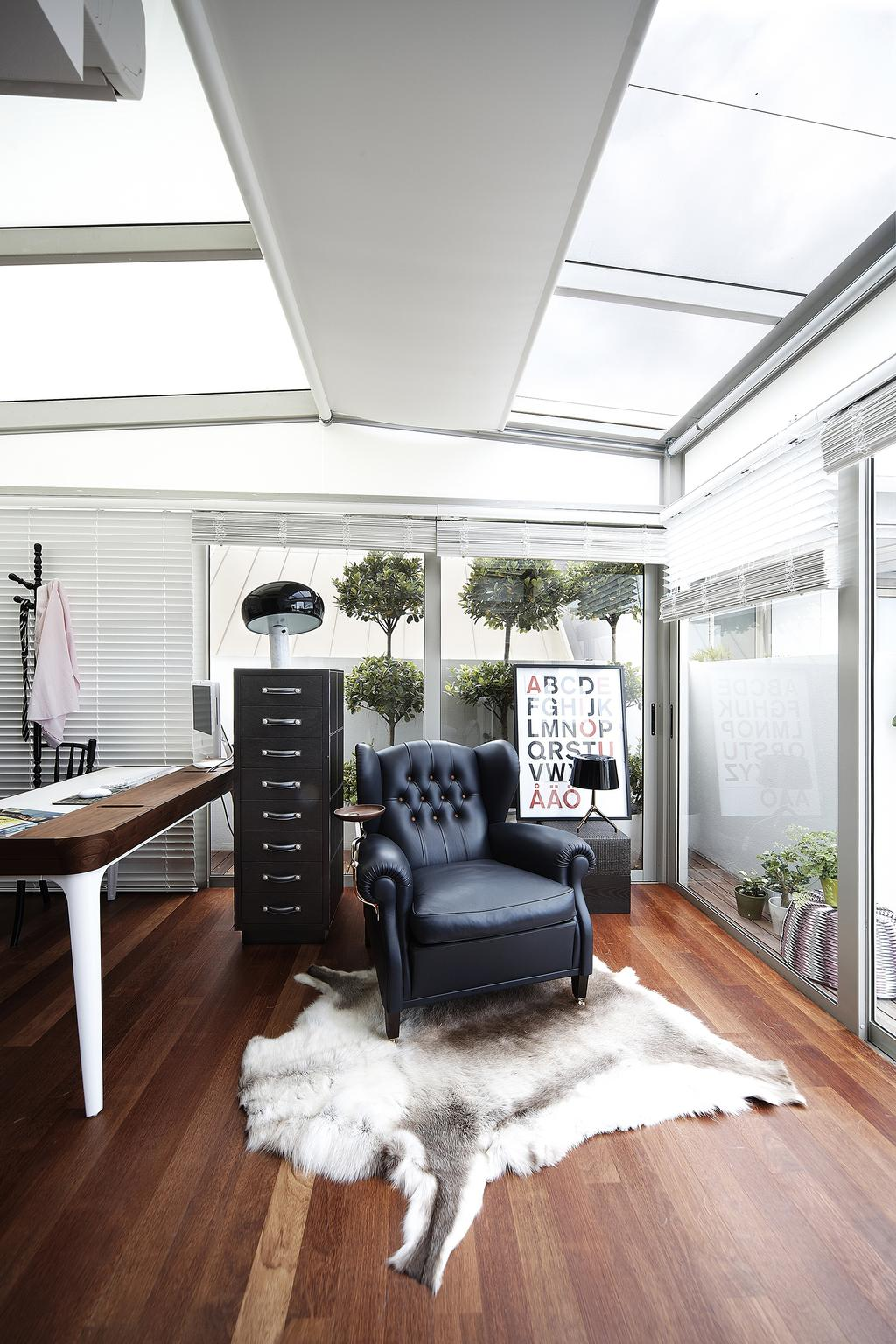 Eclectic, Condo, Study, East Coast, Interior Designer, Free Space Intent, Venetian Blinds, Parquet Flooring, Wooden Floor, Rug, Leather Arm Chair, Armchair, Chair, Furniture, Curtain, Home Decor, Window, Window Shade, Flora, Jar, Plant, Potted Plant, Pottery, Vase