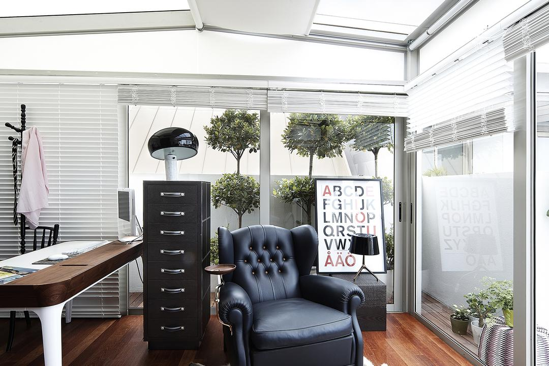 East Coast, Free Space Intent, Eclectic, Study, Condo, Venetian Blinds, Parquet Flooring, Wooden Floor, Rug, Leather Arm Chair, Armchair, Chair, Furniture, Curtain, Home Decor, Window, Window Shade, Flora, Jar, Plant, Potted Plant, Pottery, Vase