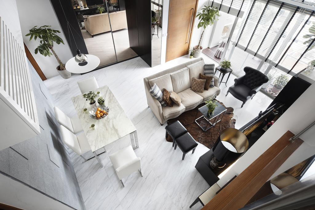 Eclectic, Condo, Living Room, East Coast, Interior Designer, Free Space Intent, Hanging Light, Full Length Windows, Leather Sofa, Leather Chairs, Laminate, Flora, Jar, Plant, Potted Plant, Pottery, Vase, Couch, Furniture