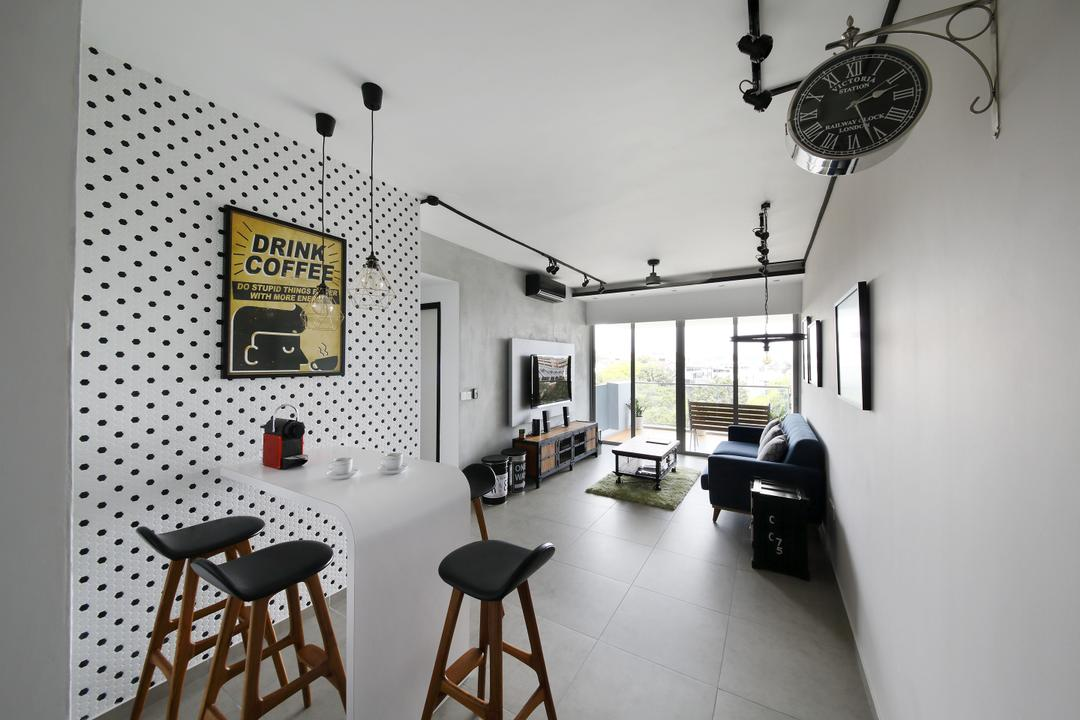 Minton, Free Space Intent, Industrial, Dining Room, Condo, Dotted Wall, Dotted Wallpaper, Wallpaper, Wall Ar, Poster, White Wall, High Chairs, Bar Stool, Furniture, Chair, HDB, Building, Housing, Indoors, Loft