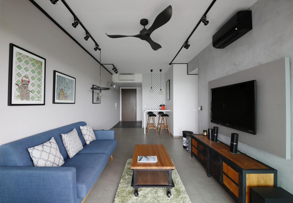 Industrial, Condo, Living Room, Minton, Interior Designer, Free Space Intent, Wall Art, Paintings, Wooden Laminate, Coffee Table, Wooden Console, Console, Track Light, Black Track Light, Trackie, Couch, Furniture, Indoors, Room, Table, Sideboard, Electronics, Entertainment Center