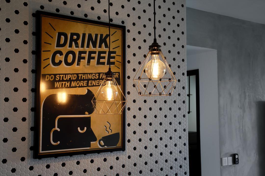 Minton, Free Space Intent, Industrial, Dining Room, Condo, Hanging Light, Exposed Lightbulb, Wall Art, Poser, Wallpaper