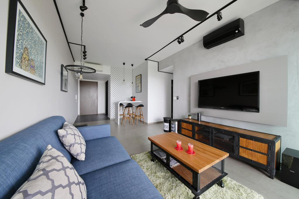 Industrial, Condo, Living Room, Minton, Interior Designer, Free Space Intent, Wooden Table, Console, Wall Art, Painting, Rug, Blue Sofa, Wooden Laminate, Indoors, Room, Couch, Furniture
