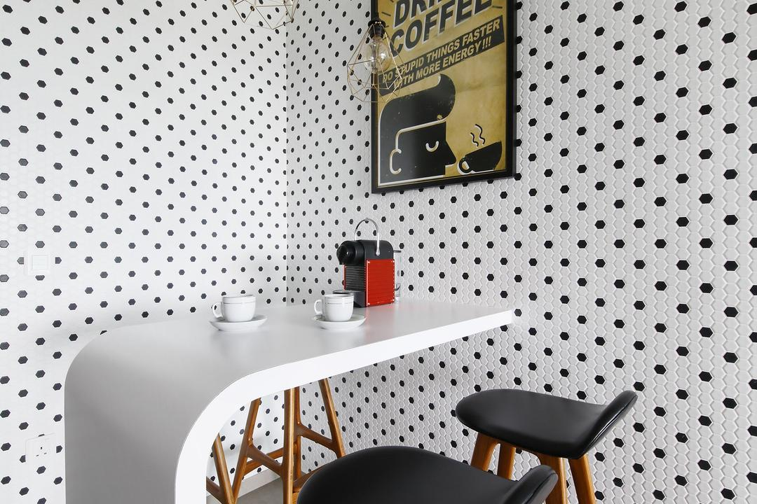 Minton, Free Space Intent, Industrial, Dining Room, Condo, Dotted Wall, High Chair, White Laminate, Wall Art, Exposed Lightbulb, Hanging Light, Poster, Chair, Furniture
