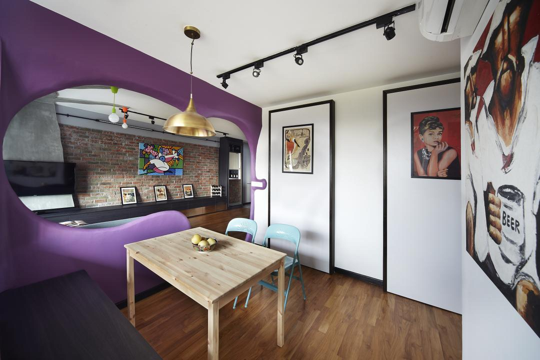 Montreal Link, Free Space Intent, Eclectic, Dining Room, HDB, Hanging Light, Accent Wall, Purple Wall, Parquet Flooring, Wooden Flooring, Wall Art, Paintings, Autograph, Handwriting, Signature, Text, Indoors, Room, Interior Design, Dining Table, Furniture, Table