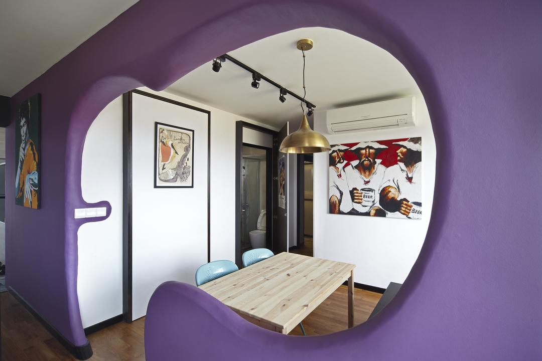 Montreal Link, Free Space Intent, Eclectic, Dining Room, HDB, Wall Art, Painting, Purple Wall, Accent Wall, Wooden, Chair, Furniture