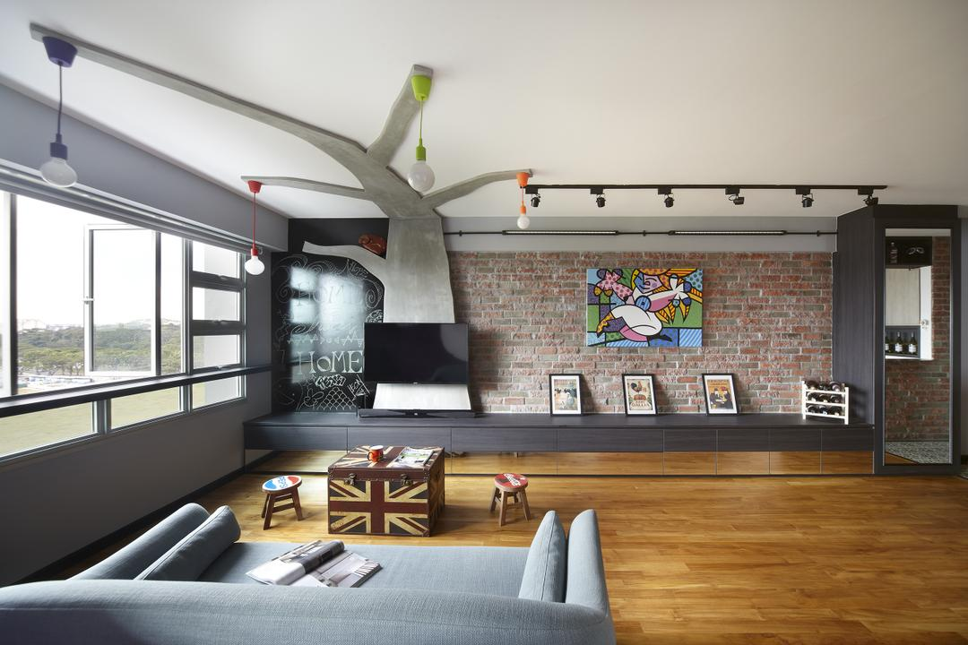 Montreal Link, Free Space Intent, Eclectic, Living Room, HDB, Parquet Flooring, Wooden Flooring, Brick Wall, Wall Art, Paintings, Hanging Light, Exposed Lightbulb, Building, Housing, Indoors, Loft, Dining Room, Interior Design, Room