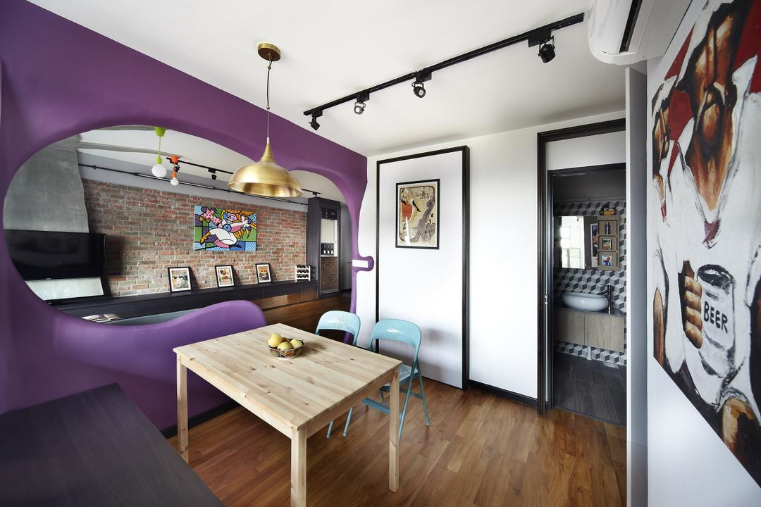 Montreal Link, Free Space Intent, Eclectic, Dining Room, HDB, Hanging Light, Accent Wall, Purple Wall, Parquet Flooring, Wooden Flooring, Wall Art, Painting, Indoors, Interior Design, Room, Collage, Poster