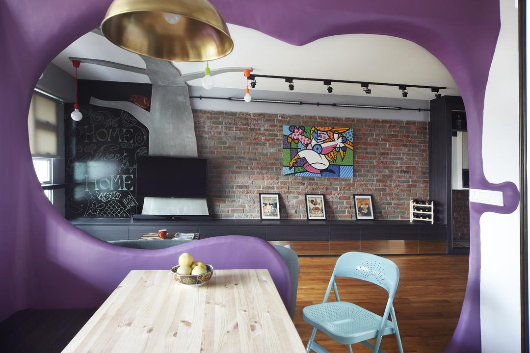 Montreal Link, Free Space Intent, Eclectic, Dining Room, HDB, Brick Wall, Accent Wall, Purple Wall, Wooden Table, Hanging Light, Chair, Furniture, Indoors, Interior Design, Room, Blackboard