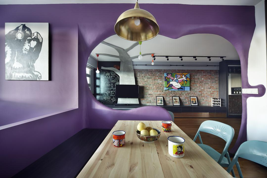 Montreal Link, Free Space Intent, Eclectic, Dining Room, HDB, Hanging Light, Wooden Table, Accent Wall, Purple Wall, Wall Art, Painting, Chair, Furniture, Dining Table, Table, Indoors, Interior Design, Room, Collage, Poster