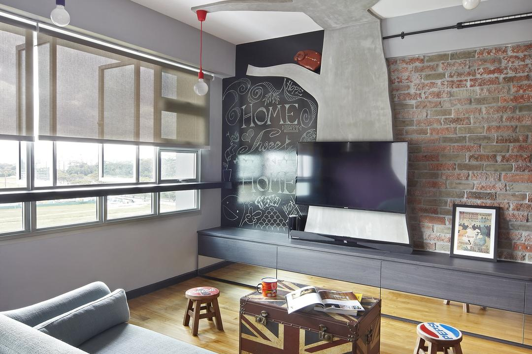 Montreal Link, Free Space Intent, Eclectic, Living Room, HDB, Hanging Light, Exposed Lightbulb, Parquet Flooring, Wooden Flooring, Brick Wall, Console, Laminate, Building, Housing, Indoors, Loft