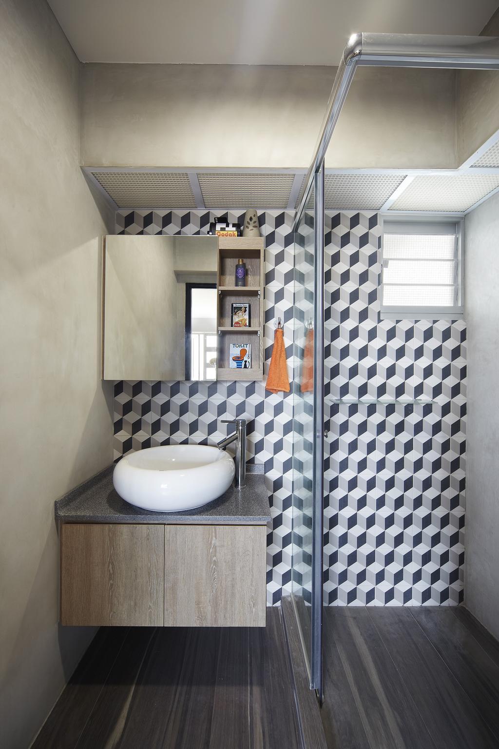 Eclectic, HDB, Bathroom, Montreal Link, Interior Designer, Free Space Intent, Bathroom Tiles, Cube Tiles, Raised Sink, Parquet Flooring, Wooden Flooring, Laminate, Wooden Laminate, Indoors, Interior Design, Room