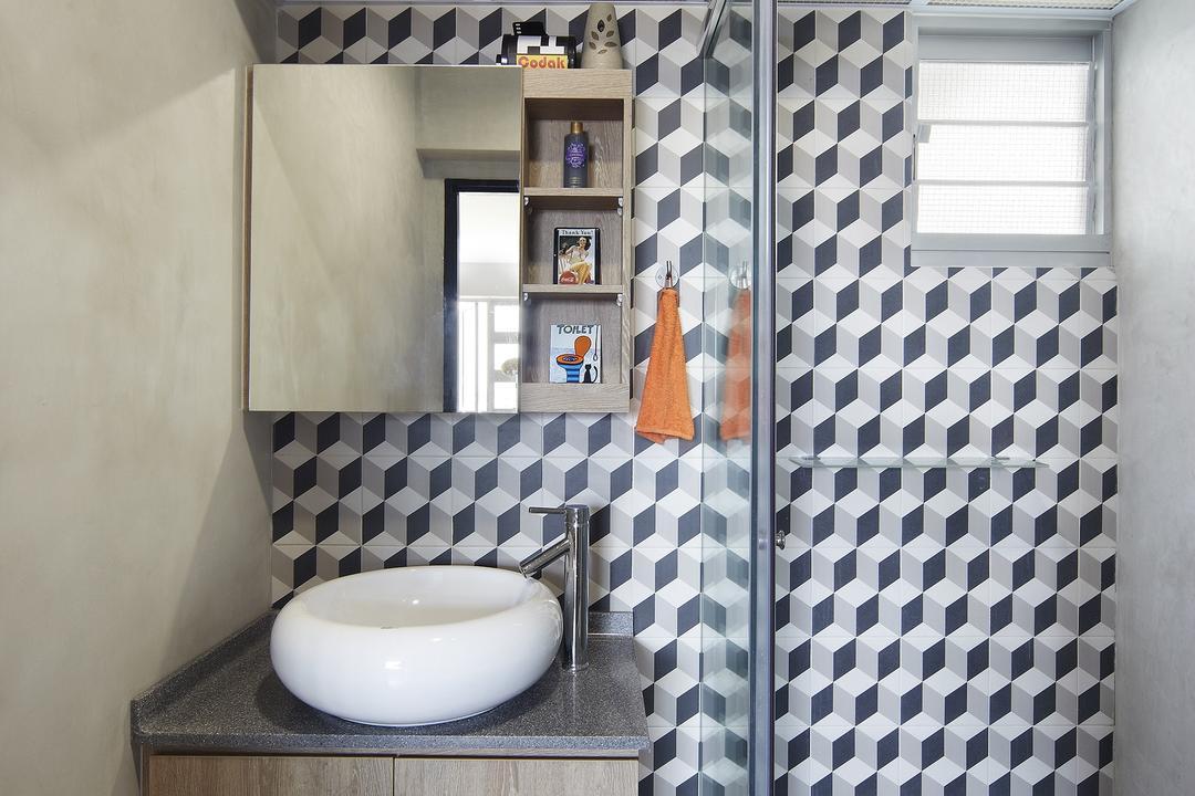Montreal Link, Free Space Intent, Eclectic, Bathroom, HDB, Bathroom Tiles, Cube Tiles, Raised Sink, Parquet Flooring, Wooden Flooring, Laminate, Wooden Laminate, Indoors, Interior Design, Room