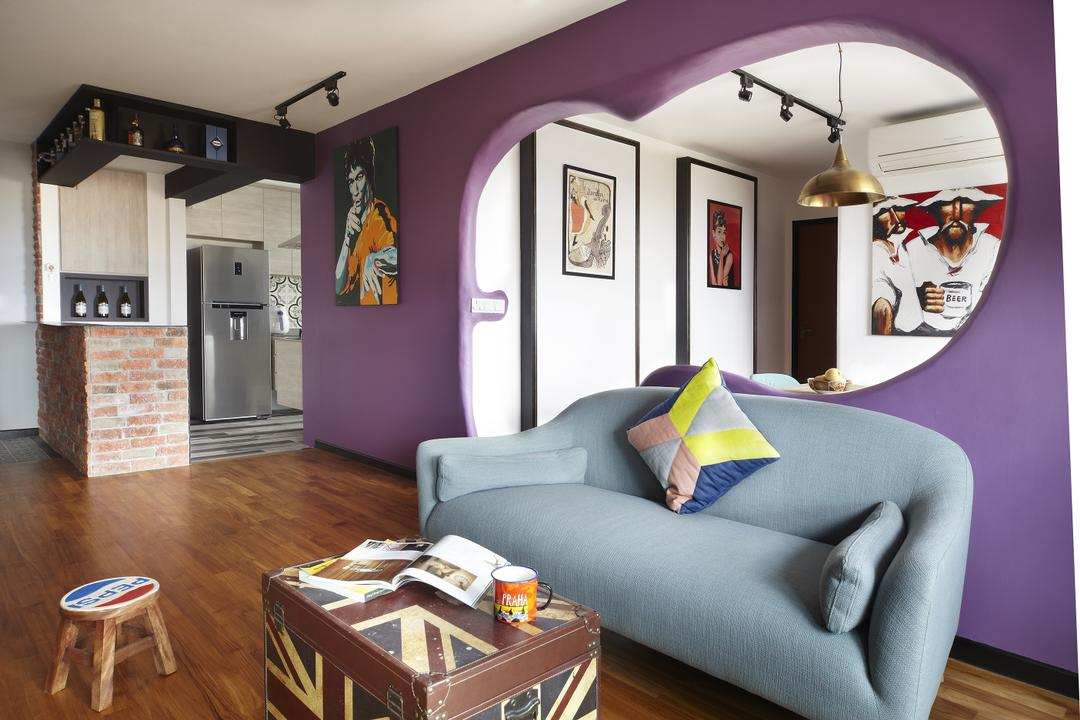 Montreal Link, Free Space Intent, Eclectic, Living Room, HDB, Accent Wall, Wall Art, Painting, Brick Wall, Parquet Flooring, Wooden Floor, Couch, Furniture, Bar Stool, Indoors, Room, Building, Housing, Loft