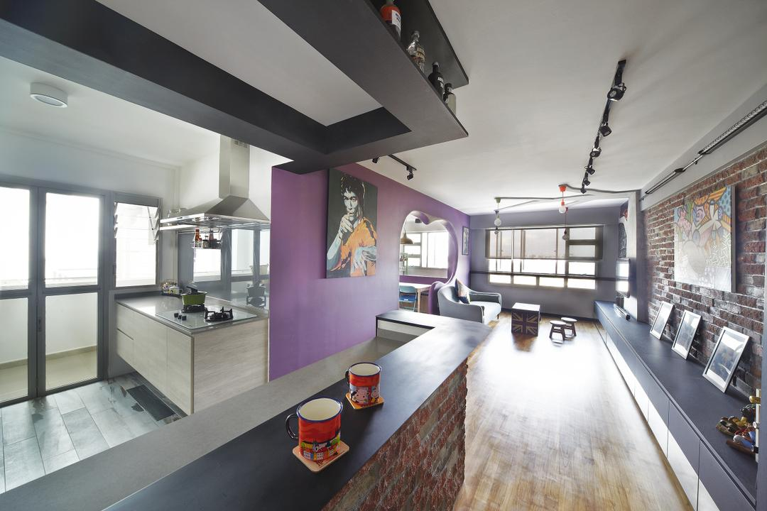Montreal Link, Free Space Intent, Eclectic, Kitchen, HDB, Brick Wall, Parquet Flooring, Wooden Flooring, Purple Wall, Black Track Light, Black Trackie, Track Lighting, Building, Housing, Indoors, Loft, Room