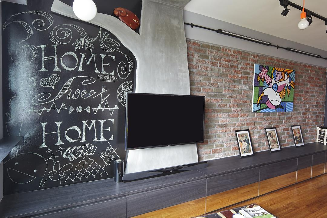 Montreal Link, Free Space Intent, Eclectic, Living Room, HDB, Brick Wall, Parquet Flooring, Wooden Floor, Chalkboard, Console, Hanging Light, Exposed Lightbulb, Blackboard, Brick