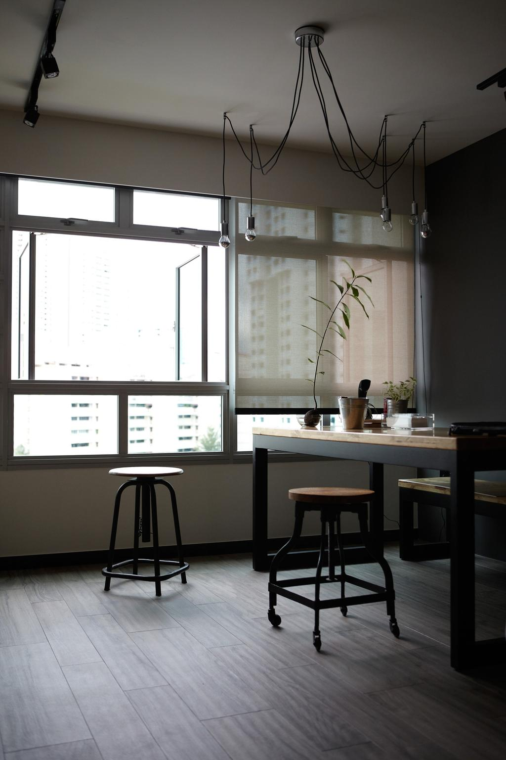 Scandinavian, HDB, Dining Room, Ghim Moh Link, Interior Designer, Free Space Intent, Exposed Lightbulb, Hanging Light, Stool, Parquet Flooring, Wooden Flooring, Flora, Jar, Plant, Potted Plant, Pottery, Vase, Bar Stool, Furniture, Dining Table, Table, White Board