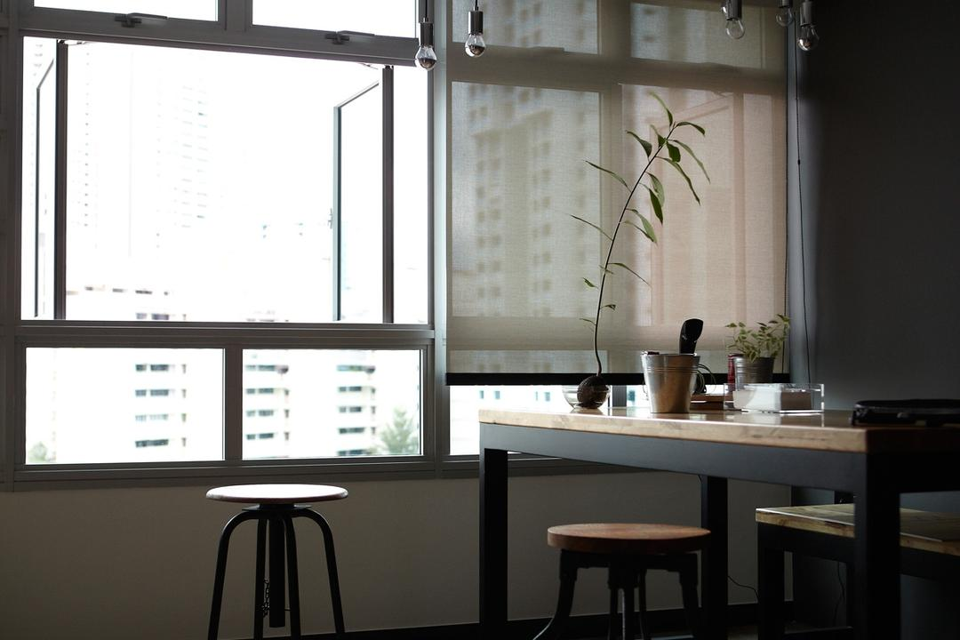 Ghim Moh Link, Free Space Intent, Scandinavian, Dining Room, HDB, Exposed Lightbulb, Hanging Light, Stool, Parquet Flooring, Wooden Flooring, Flora, Jar, Plant, Potted Plant, Pottery, Vase, Bar Stool, Furniture, Dining Table, Table, White Board