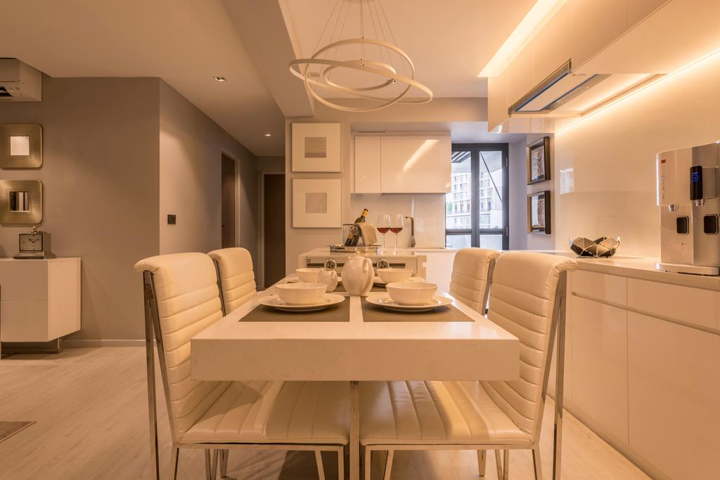 Contemporary, HDB, Dining Room, SkyTerrace @ Dawson (Block 92), Interior Designer, Mr Shopper Studio, Knobless, All White Interior, Warm Glow, Cabinetry, Couch, Furniture, Indoors, Interior Design, Room, Dining Table, Table