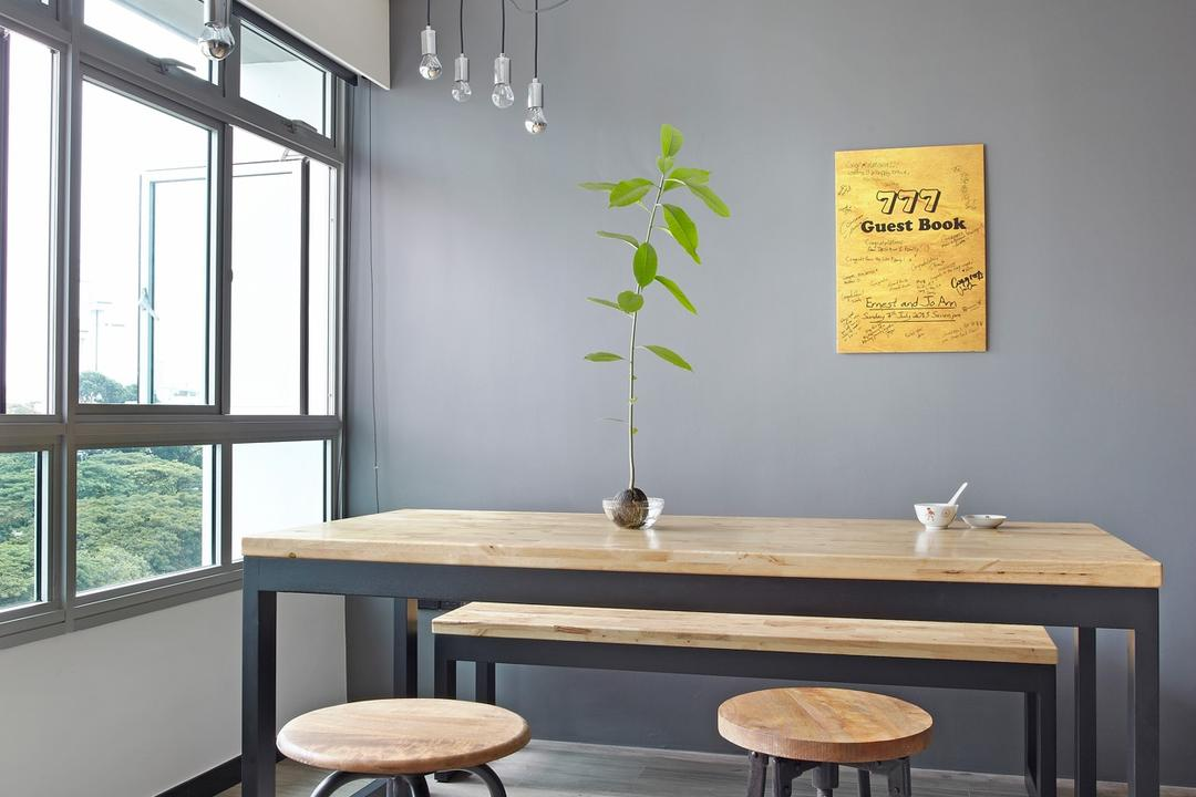 Ghim Moh Link, Free Space Intent, Scandinavian, Dining Room, HDB, Parquet Flooring, Wooden Flooring, Wooden Table, Stools, Hanging Light, Exposed Lightbulb, Window, Dining Table, Furniture, Table, Indoors, Interior Design, Room, Bar Stool